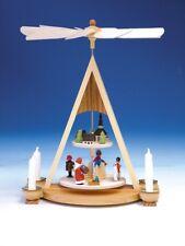 piramide + Babbo Natale, con sua PAESE COLORATO 2 piani 35cm da tavolo NUOVO