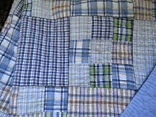 "Pottery Barn Kids Heavy Cotton Plaid Quilt Bedspread Blues Green Brown 70""X90"""
