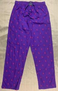 M's POLO Ralph Lauren cotton Pajama Pants bottoms Medium Purple Pony Logo Print