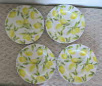 "Set of 4 LEMONS Mikasa Bone China 9"" Lunch / Salad Plates   BRAND NEW w/tag"