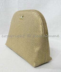 NWT Michael Kors 32H8MF9T3C Large Travel Pouch In Acorn Leather and Gold Canvas