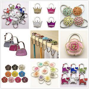 UK Women's Folding Handbag Purse Bag Table Hook Hanger Holder 2 in 1 Accessory