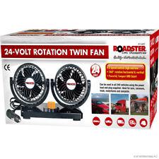 Roadster 24v 360° Rotation Twin Dual Fan Camping Truck Lorry Motorhome Boat