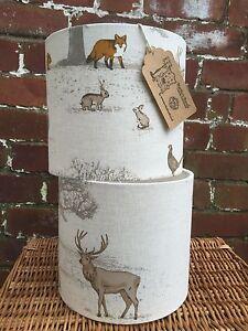 Custom Handmade Lampshade woodland Fabric Choice of Size Style Cottage Chic MTO