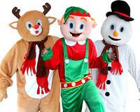 ADULT CHRISTMAS MASCOT COSTUME REINDEER ELF SNOWMAN FANCY DRESS BIG HEAD