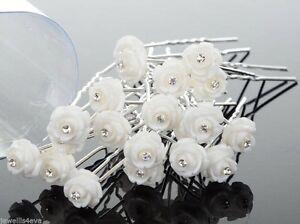 10 White Rose Flower Crystal Hair Pin Grip Wedding Prom Bridal Bridesmaid