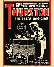 Vintage Antique Rare POSTER  1920's   THURSTON  Magic Show Magician Circus Freak