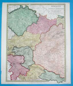1843 NICE ORIGINAL MAP BOHEMIA MORAVIA HUNGARY SLOVENIA CARNIOLA LAYBACH CROATIA