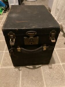OLD VINTAGE BLACK EXCELSIOR ANTIQUE TRAVEL BAG TRAIN CASE LUGGAGE CHEST