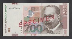 CROATIA  200 Kuna  2002 UNC    P42s  SPECIMEN