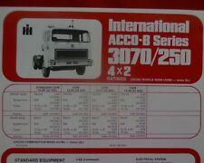 International ACCO 3070B 250B 3250B Truck, sales brochure / specification sheet