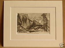 TOWER FALLS AND COLUMN MOUNTAIN YELLOWSTONE ANTIQUE ENGRAVING FROM 1876 BOOK