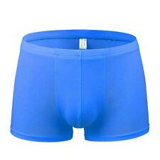 Men's Breathable Comfy Ice silk Boxer Briefs Shorts Bulge Underpants Underwear