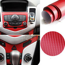 "Red 3D Carbon Fiber Vinyl Wrap Roll Film Decal Car Decoration Waterproof 12""x50"""