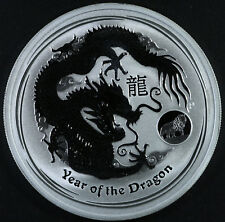 2012 Australia Dragon 1 oz. Pure Silver Coin in Capsule