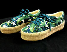 qupid sneakers - size 7 - Blue & Green Floral