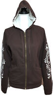 Prana Breathe Brown Embroidered Zip Up Hoodie Jacket Womens Medium Cotton Coat