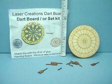 Dollhouse Miniature Dart Board & Four Darts - Kit Laser Creations 1/12th Reduced