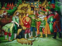 russian lacquer box hand painted castle king prince horse Treasures story signed