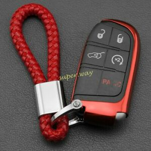 For Jeep Dodge Chrysler Car Key Fob Case Cover Chain Ring Accessories Red