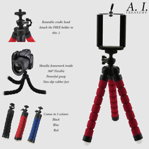 Universal Tripod Stand Flexible iPhone Samsung Grip + FREE CAMERA / PHONE HOLDER