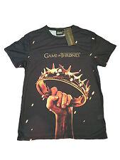 Primark Da Uomo Game of Thrones CORONA Logo Black T shirt ufficiale nuovo con etichetta Xs