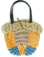 Felix Stricktasche Damen Tasche Handtasche Schultertasche Shopper Beige Blau Neu
