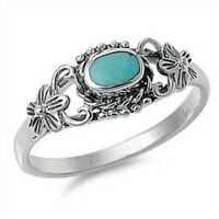 Ring Genuine Sterling Silver 925 Turquoise Jewelry Face Height 8 mm Size 9