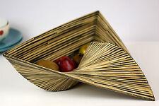 Decorative Triangular Bamboo Basket Bowl Handmade Black