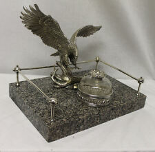 Antique Desk Set with Granite Base and Figural Eagle and Ink Well