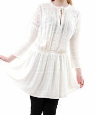 Free PEOPLE Damen romantisches Bauern Gestrickt Kleid V-Ausschnitt Elfenbein XS BCF59