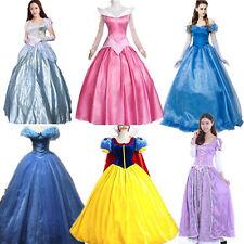 Adult Cinderella Snow White Aurora Costume Fairytale Princess Dress Cosplay NEW@
