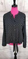 Chicos Shirt Blouse Sz XL Women Black White Polka Dot Tie Waist Roll Tab Sleeve