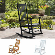 Outsunny Porch Rocking Chair Solid Wood Home Traditional Bench Furniture Outdoor