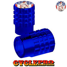 2 Blue Billet Knurled Tire Valve Cap Motorcycle - GIRL USA FLAG - 054