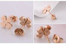 10mm Clover Rose Gold Stainless Steel Stud Earrings Gift Box PE13