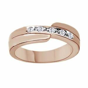 1/7 Ct Round Cut Simulated 14K Rose Gold Over Silver Men's Five Stone Ring