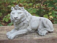 "New listing 6"" Long Cement Lying Lion Garden Art Concrete Statue Leo Feline King of Jungle"