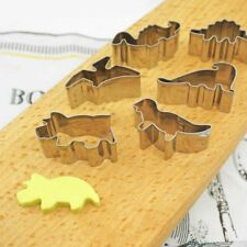 6Pcs Stainless Steel Dinosaur Fruit Pastry Cookie Biscuit Cutter Cake QJ