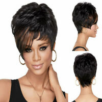 100% Echthaar! Mode Kurz Schwarz Gerade Perücke Menschliches Haar Perücke
