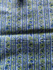 Vintage Floral Stripe 1970's Print Cotton dress Fabric Blue Green W90 X 240cm