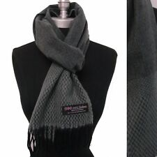 Mens 100% CASHMERE Scarf Gray Black Herringbone Tweed Plaid SCOTLAND Wool Soft