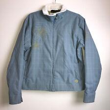 Mountain Hardwear Waterproof Wind Stop Jacket Blue Green Embroiderey Woman Large