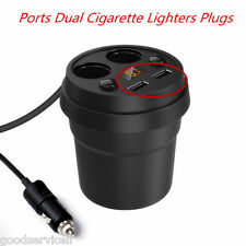 Car Charger Multiple USB Ports Dual Cigarette Lighters Smart Plugs LED Display