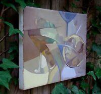 Latin American LISTED ARTIST ORIGINAL Oil Canvas Lucia Perrotta ABSTRACT MARTINI