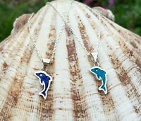 Dolphin Necklace-Turquoise and Lapis Lazuli-Dolphin Pendant-925 Sterling Silver!