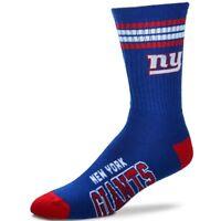 New York Giants For Bare Feet NFL 4-Stripe Deuce Crew Socks SZ M