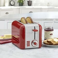 Cuisinart 2 Slice Compact Hot Toaster Stainless Steel Red Multiple Toasting NEW