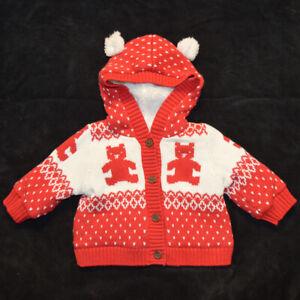 Baby Gap NWT Red Bear Fair Isle Hoodie Cardigan Sweater 513709 3-6 Months $45