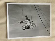 VINTAGE CIRCUS ACT ACROBAT: Trapeze Artist Upside Down on the Swing Photo